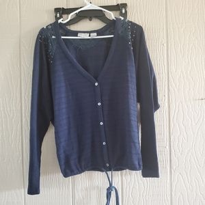 Miss Me navy button up front tie cardigan sweater